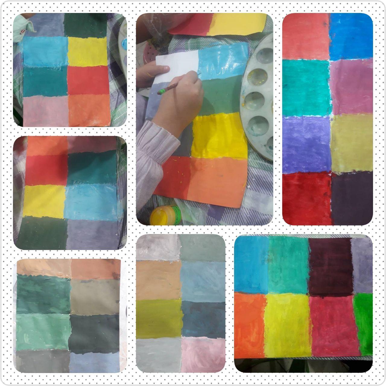 آموزش ترکیب رنگها در کارگاه نقاشی دختران پایه سوم دبستان دخترانه رفاه