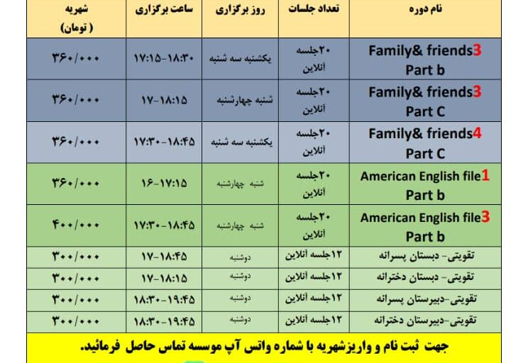 دوره های زبان۱